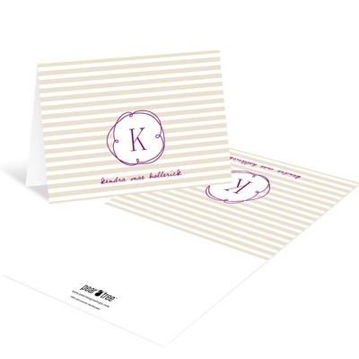 Striped and Swirled Monogram Tan Baby Thank You Cards