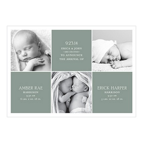 Photo Blocks Twins Collage --Multiples Announcements