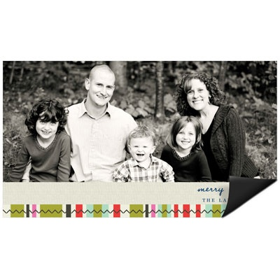Photo Blocks and Stripes Magnet Holiday Photo Cards