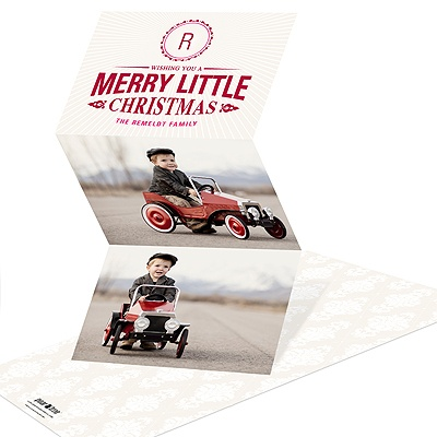 Merry Little Monogram -- Tri-Fold Holiday Photo Cards