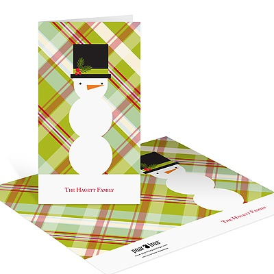 Snowman Playing In Plaid Christmas Thank You Cards