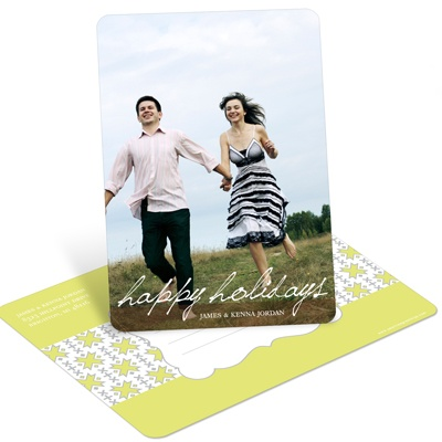 Simple Script Vertical Photo -- Holiday Photo Postcards