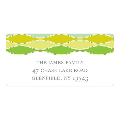 Trendy Twining in Green Printed Address Labels