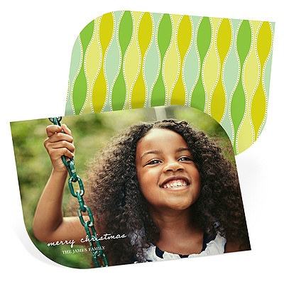 Vintage Appeal In Green Holiday Photo Cards