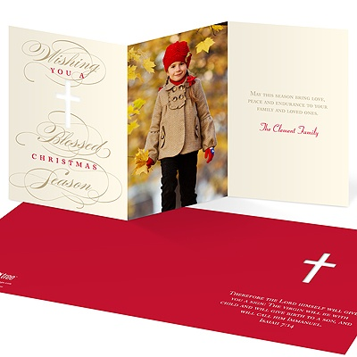 Blessed Wishes -- Religious Photo Christmas Cards