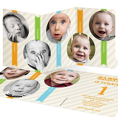Ribbons and Stripes Kids Photo Birthday Invitations