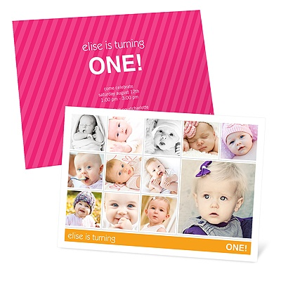 Colliding Collage First Birthday Party Invitations