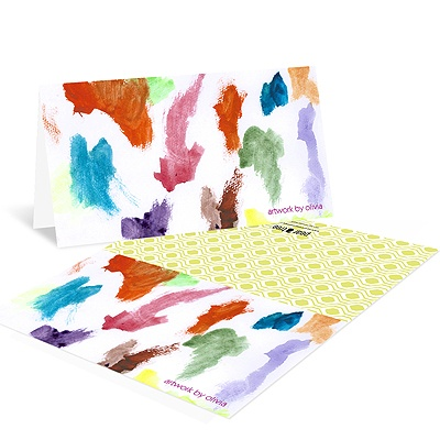 Colorful Paint Tray Kids Thank You Cards