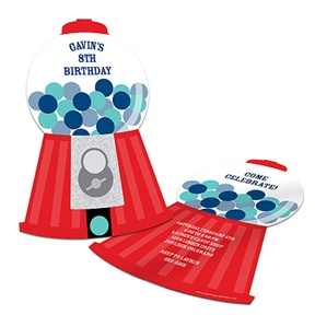 Gumball Machine Fun -- Unique Birthday Party Invitations