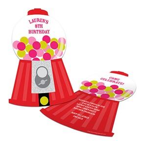 Gumball Machine Goodness -- Childrens Birthday Party Invitations