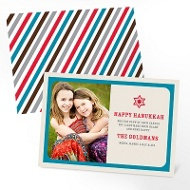 Seasonal Stripes Happy Hanukkah Cards