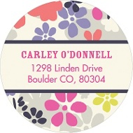 Monogram Blossoms Flower Address Labels