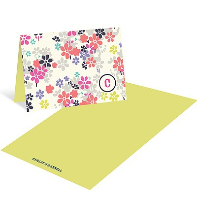 Monogram Blossoms -- Floral thank you Cards