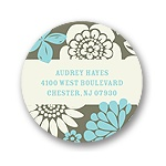 Flower Bunches -- Round Return Address Labels