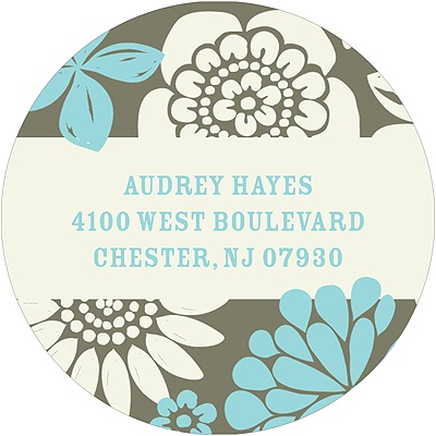 Flower Bunches Round Return Address Labels