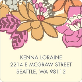 Bordered Blossoms -- Vintage Address Labels