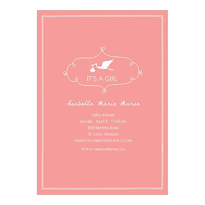 Special Delivery -- Girl Stork Baby Shower Invitations