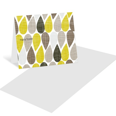 Textured Drops Personalized Folded Note Cards