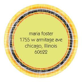 Cross Stitching -- Round Return Address Labels