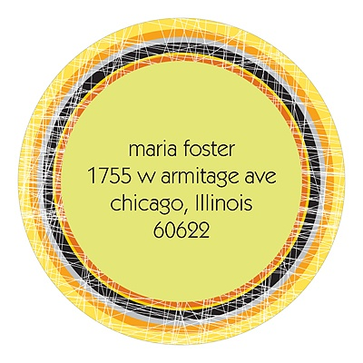 Cross Stitching Round Return Address Labels