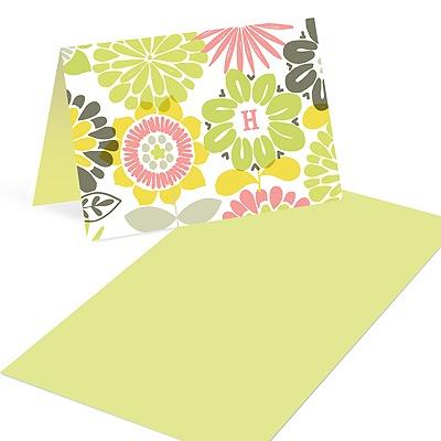 Retro Flowers Monogram Mini Note Cards
