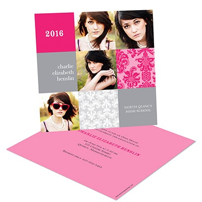 Damask Blocks -- Photo Graduation Party Invitations