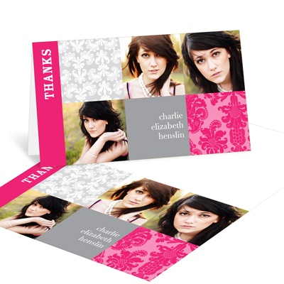 Damask Blocks Graduation Thank You Cards
