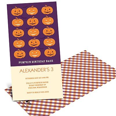 Line-up of Pumpkins Halloween Birthday Invitations