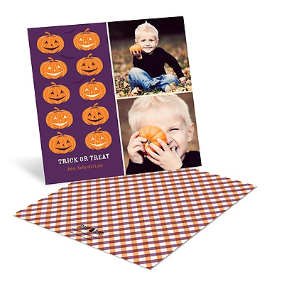 Line-up of Pumpkins Halloween Photo Greeting Cards