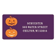 Dual Pumpkins in Purple Halloween Address Labels