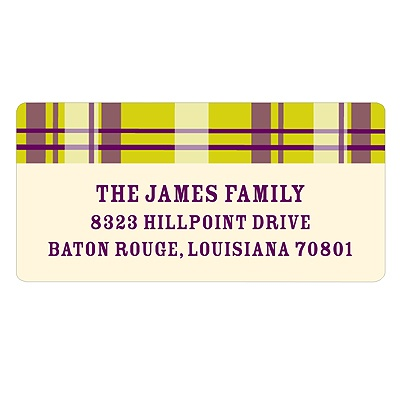 Purple Plaid Halloween Address Labels