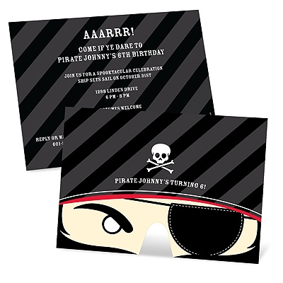 Pirate's Playful Mask -- Kids Halloween Birthday Invitations