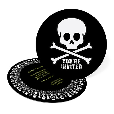 Round and Round the Skulls Personalized Halloween Invitations