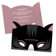 Black Cat Mask Personalized Halloween Birthday Invitations