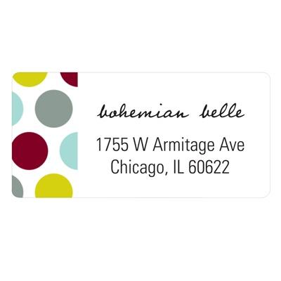 Side Polka Dots Christmas Address Labels