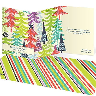 Patterned Holiday Trees Business Holiday Cards