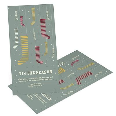 Modern Christmas Stockings Business Holiday Cards