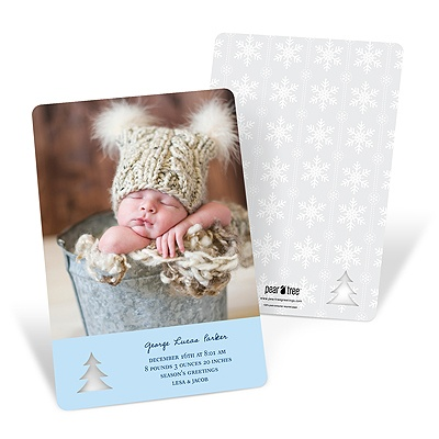 Die-cut Dimensions -- Christmas Photo Birth Announcements