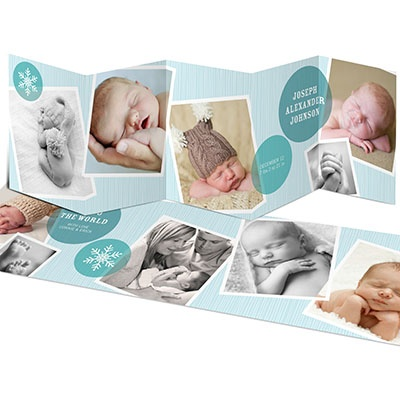 Photo Storybook for a Boy -- Holiday Winter Birth Announcements