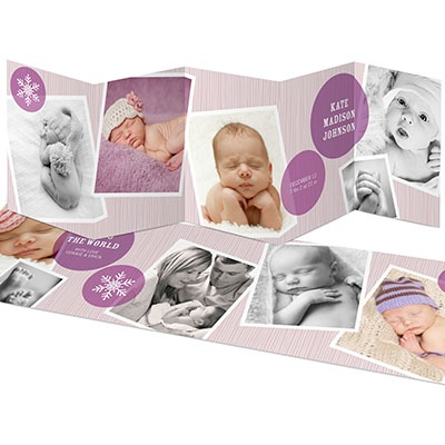 Photo Storybook for a Girl -- Holiday Photo Birth Announcements