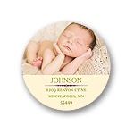 Modest Baby Photo Display -- Round Christmas Address Labels