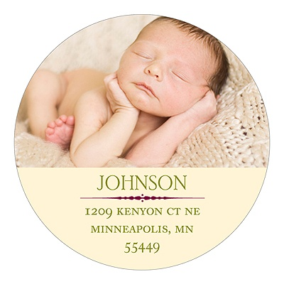 Modest Baby Photo Display Christmas Address Labels