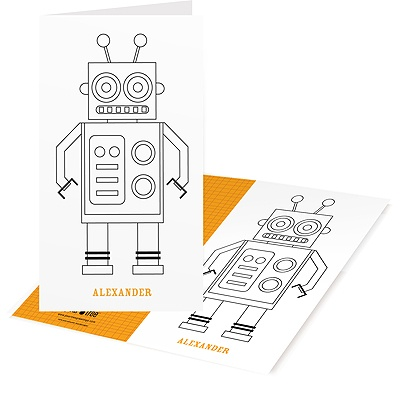 Fill-in Robot Kids Coloring Cards