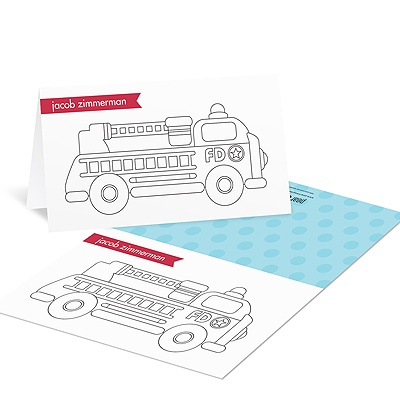 Fire truck on the Move Coloring Cards
