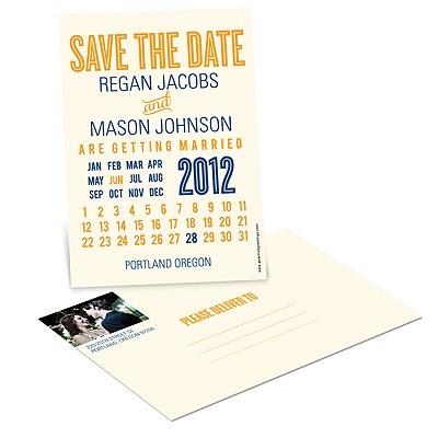 Creative Calendar Wedding Save the Date Postcards