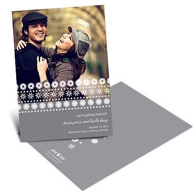 Stamped Snowflakes Holiday Save the Date Cards