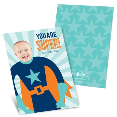 Starry Super Hero -- Kids Photo Valentine Cards