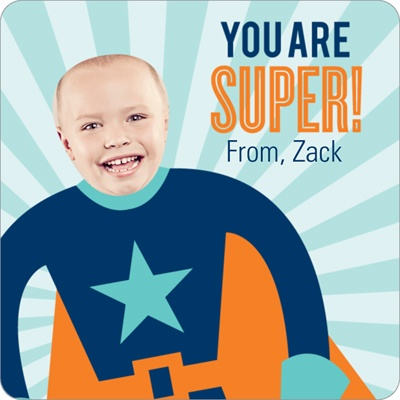Starry Super Hero Valentine's Day Personalized Stickers
