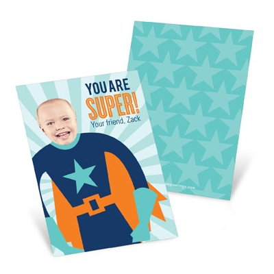 Starry Super Hero  Valentine's Day Cards for Kids