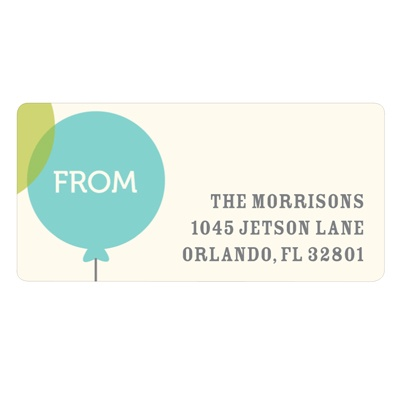 Floating Blue Balloon Baby Address Labels